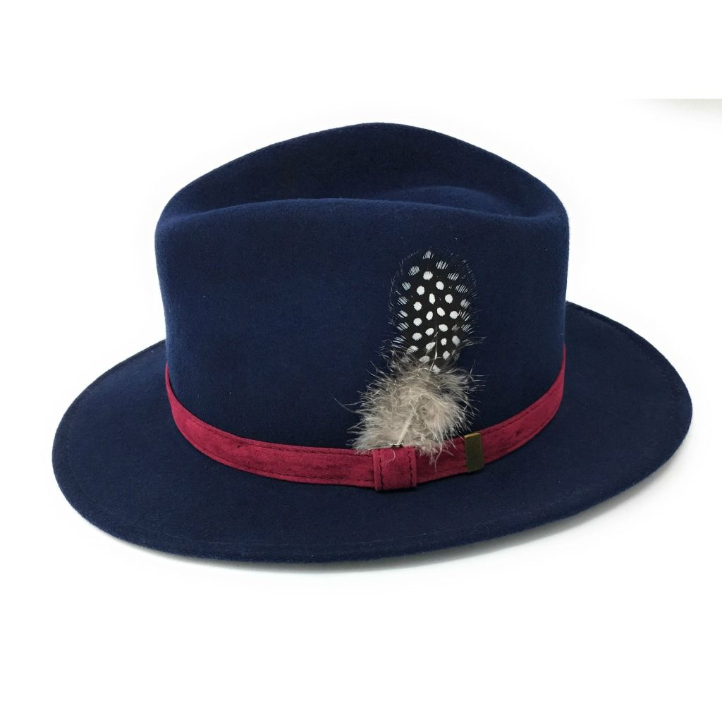 Fedora Hat  Navy with Raspberry Velvet Band and Removable Feather c15afc23726